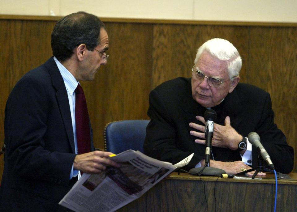 Bernard Cardinal Law appeared in Boston's Suffolk Superior Court in 2002.